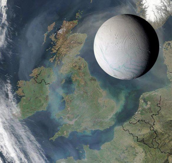 Juego visual que sirve para ilustrar el tamaño de Encélado frente a dimensiones de la Tierra.