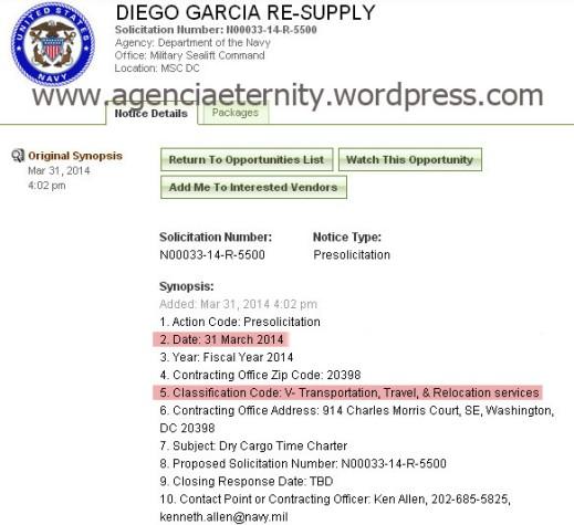 El ejército de EEUU pide un buque de carga para el atolón de Diego García