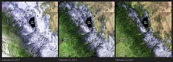 California está sufriendo su peor sequía en décadas, debido en parte a la disminución de las precipitaciones y la reducción de la capa de nieve de invierno en la cordillera de Sierra Nevada como se ve en estas imágenes. En 2013, California recibió menos precipitaciones que en cualquier otro año desde que se convirtió en estado en 1850. Los esfuerzos de conservación del agua ya están en marcha desde  y el potencial de los incendios forestales y el impacto agrícola es alto.