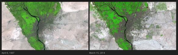 La población de la capital de Egipto, El Cairo, aumentó de 6 a más de 15 millones cuando se capturaron estas dos imágenes. Como no se han desarrollado nuevas áreas urbanas y agrícolas en el desierto circundante,han requerido que el agua se desvíe del principal valle del río Nilo. Esta irrigación expandida es visible como numerosas zonas verdes brillantes en toda la imagen de la de 2014.