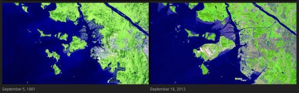 La zona de la costa de Incheon, Corea del Sur, ha cambiado drásticamente en los últimos 32 años. Áreas pantanosas se han convertido en tierra utilizable y el desarrollo urbano se ha expandido.Las islas se han conectado para acomodar el Aeropuerto Internacional de Incheon, que abrió en 2001 y ahora es uno de los mayores y más activos del mundo. El nuevo puente de Incheon (también llamado el Gran Puente de Incheon), que se inauguró en octubre de 2009, es visible en la imagen de 2013.