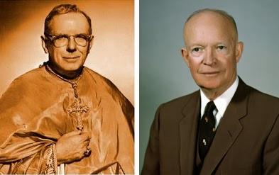 El Obispo de Los Angeles James Francis Mc Intyre y el Presidente Eisenhower