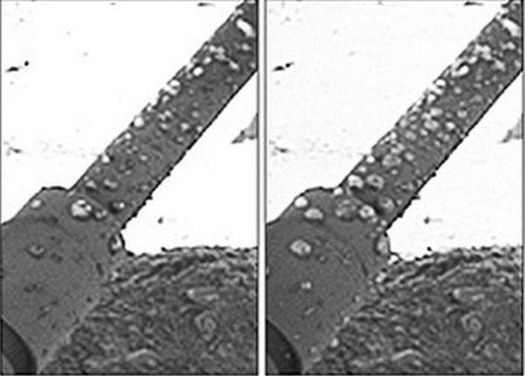 Según el científico Nilton Renno, las pequeñas formaciones circulares que se aprecian sobre los soportes de metal de la nave exploradora Phoenix son gotas de agua. Esta fotografía registrada durante la misión de la nave Phoenix en el planeta Marte es, probablemente, la primera imagen de agua registrada fuera del planeta Tierra. Las dos imágenes fueron registradas en diferentes días marcianos, nótese como las gotas se agrupan y deslizan.  (Foto por NASA/JPL)